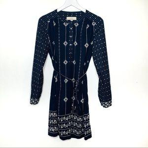 LOFT Navy Shirtdress Tunic Mixed Diamond